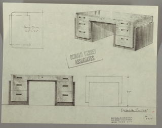 Drawing, Desk: Seating at Center, Center Drawer, Three Stacked Drawers-Left and Right-with Rectangular Pulls,,One per Drawer, 1930s