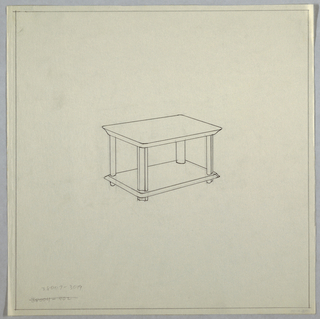 Rectangular shelved table.