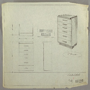 Design for chest of drawers. At upper right, object shown in perspective: rectilinear object with recessed base in darker material supports six drawers of various depths, each accessed by horizontal cylindrical pull set into mount. Top surface in darker material of narrower width features curved front edge that wraps downward. Also seen in plan and front and side elevations. Inscribed with Deskey No. 7248.