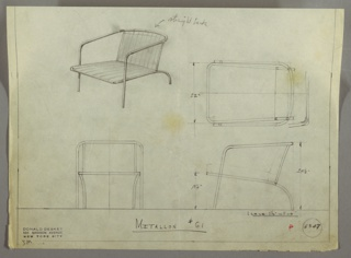 Design for armchair seen in perspective, plan, and elevations. Tubular Metallon frame with curved back legs and upright front legs support stretched textile seat and arched back. Inscribed with Deskey No. 6347 and Metallon No. 61.