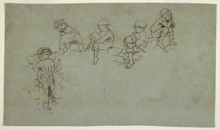 Recto: Horizontal view showing five sketches of young boys, some kneeling or seated.  Verso: Geometrical figures and parts of such figures.