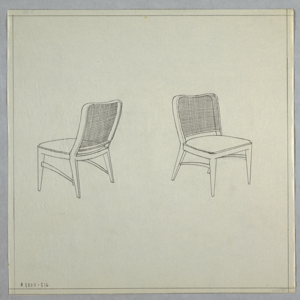 Two chairs with cane backs.