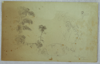 Horizontal view of trees and details of bamboos with a man without visible feet, carrying bananas upon his head at top right in small scale.