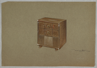 Wooden chest with two drawers.