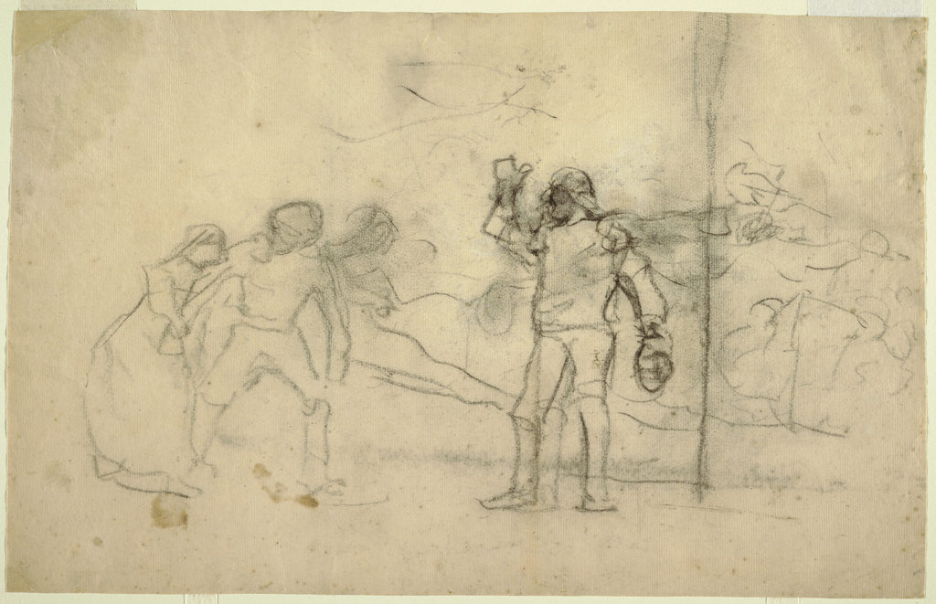 Horizontal view showing a group of figures; at center is a man with his right arm upraised; at left are two figures; and to the right is a faintly indicated rough sea and  a man launching a lifeboat.