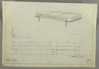 Drawing, Bench: Upholstered, 1930s