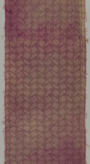 Vertical panel of mauve damask patterned in a small-scale allover design of a trellis with diamond-shaped intersections that are filled with groups of wavy lines. Marking the intersection of the trellis are small curving stylized leaf forms.