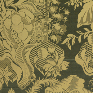 Patterned vase containing oversize flowers and foliage in gold on green.  Grommets top and bottom as for showroom sample.
