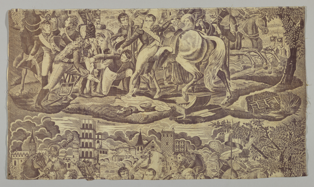 """Section of cotton, copper-plate, print in purple on white ground. Depicting a battle scene of the Napoleonic Wars. The word """"Ratisbonne"""" printed in large letters beneath the scene."""