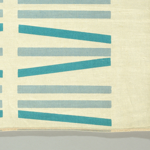 White ground with rows of straight and slanting bars about six inches long in turquoise and blue.