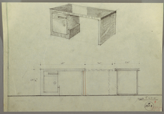 Drawing, Desk: Seating at Center, Drawers, Top-Center, Left, and Right, Two-Drawer Stack, Left and Right, 1930s
