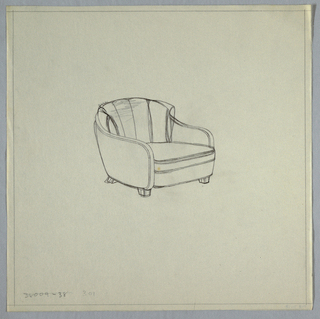 Armchair with curved arms, with 5 tufts.