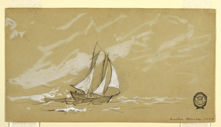 Horiztonal view of a schooner with three dories.