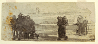 Horizontal view of groups of figures gathered at a railing overlooking a bay and a small boat; a small strip of land with the ruins of the Tynemouth Priory, in background.