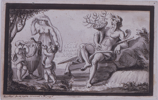 "Horizontal rectangle. A woman and two children stand at left at a cinerary urn, in mourning attitude. At right sits a river god. A frigate is in the background. Broad framing stripe. The signature is below its left corner: ""Barberi Architetto invento e disegno""."