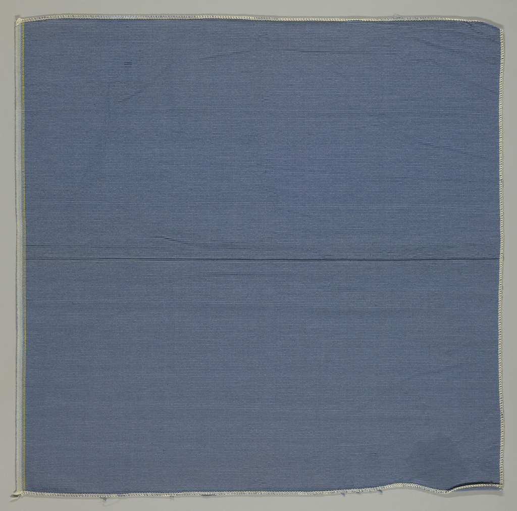 Blue heavily ribbed fabric. a: 1952 Schumacher version of a 1902 Schumacher fabric originally used in the Blue Room of the White House.