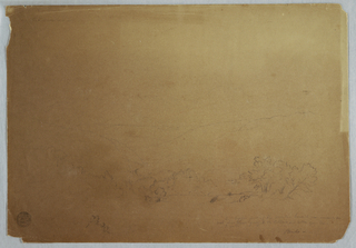 Recto: Horizontal view with a group of trees in the right foreground leading into a narrow valley with a plateau in the center and a high mountain range with a peak in the background.  Verso: Unfinished mountain sketch