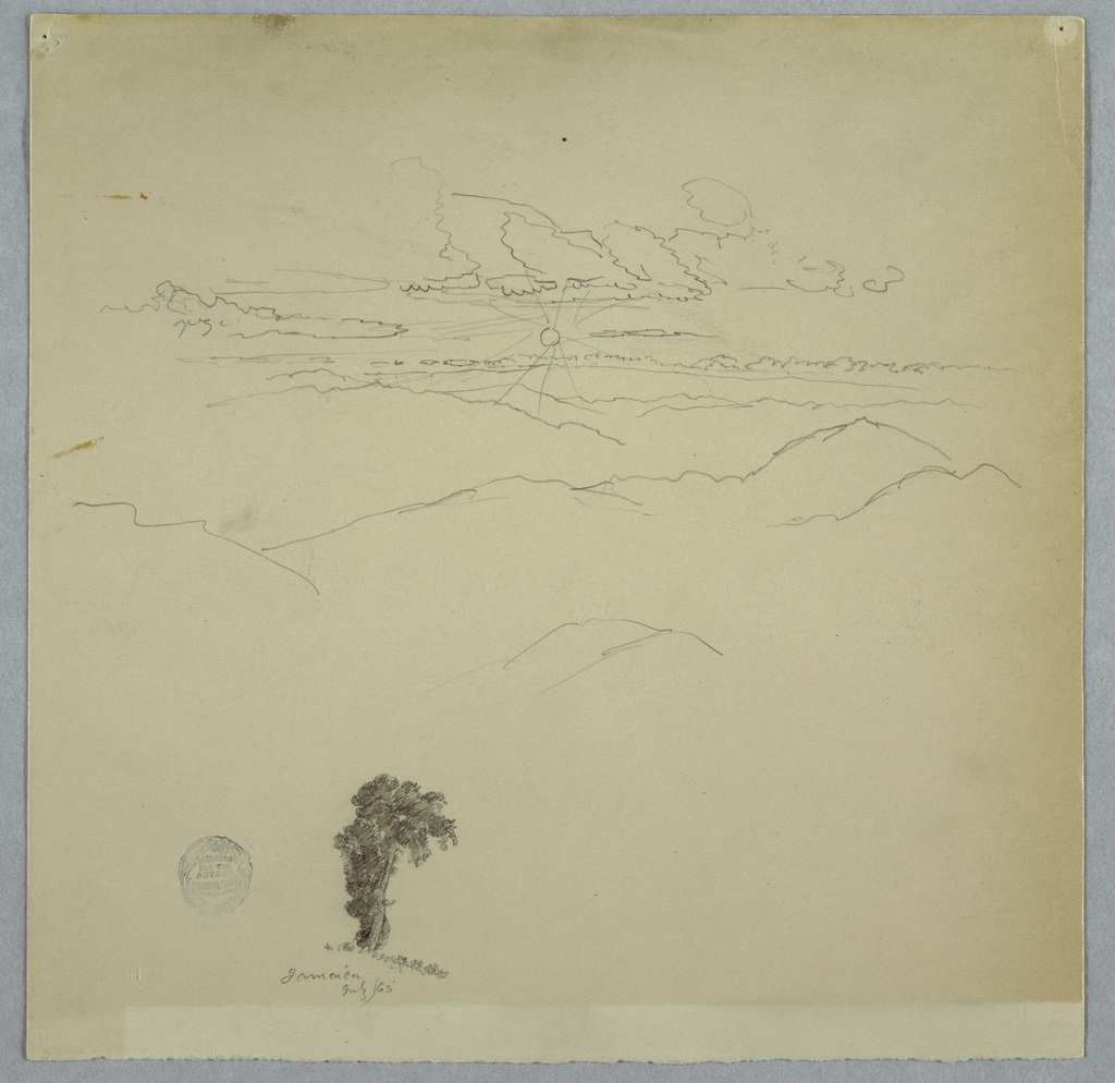 Horizontal distant view over mountain ranges as the sun radiates low in a cloudy sky with a tree at bottom left.