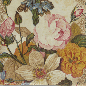 Polychrome panel with a vertical arrangement of flower bouquets of roses and passion flowers with foliage. Set off against vertical background stripes of small S-curves within foliage. Staggered repeat.