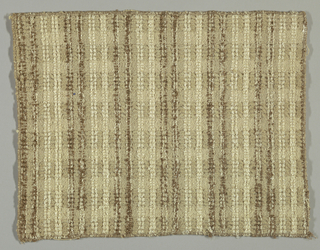 Vertical stripes of brown and white on a pale buff ground formed by grouping of warp-horizontal stripes of weft of thick buff chenille in relief.