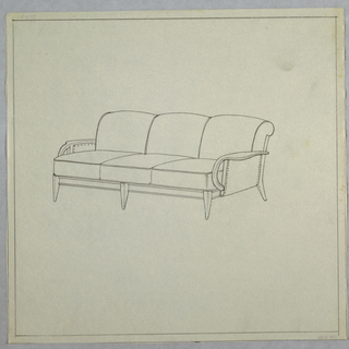 Three-cushioned sofa with peg legs and rounded arms.