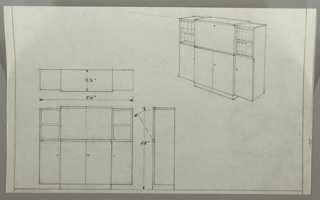 Drawing, Cabinet and Bookshelves Unit, 1930s