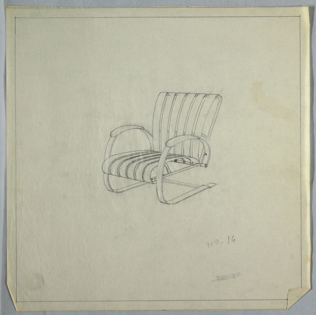 Vertically slatted chair with rounded arms.