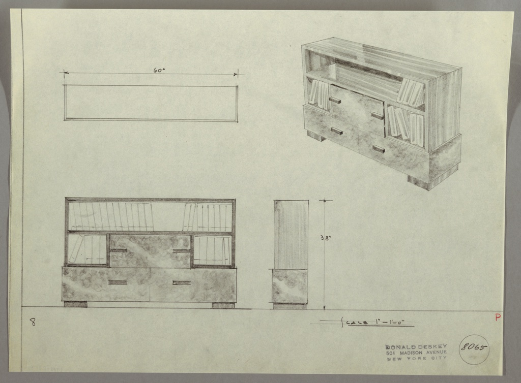 Design for bookshelves and drawers.