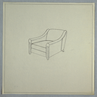 Armchair with sloped arms.