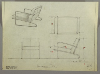 Drawing, Armchair: Cushion-Seat and Back, 1930s