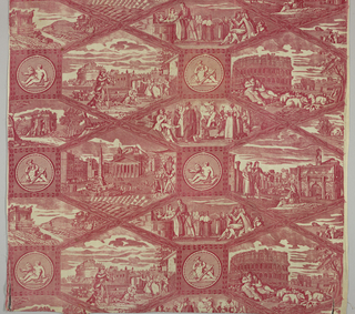 "Length of printed fabric: Scenes of Rome contained within a complex grid based on two overlapped elongated octagons. Monochrome red. Length of repeat 47.5cm (18 3/4""). Lengths of fabric side-by-side would continue repeat. Printed within full width of fabric with uneven margins on left and right."