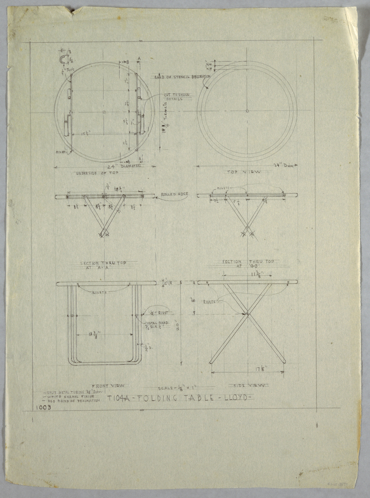Plan and elevation of a folding table.
