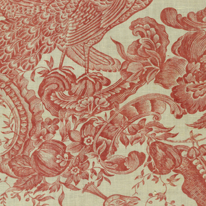 Printed in red on white ground with a design of peacocks and pea hens, back-to-back, in a staight repeat. Birds perch on ornate rococo scrolls and are surrounded by lush foliage and fruit.