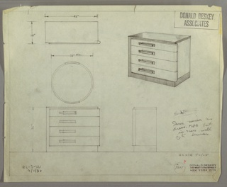 Design for chest of drawers with mirror. At upper right, object shown in perspective: low rectilinear object with U-shaped frame comprising base, left side and t op. In lighter material, stack of four drawers accessed by overlapping rectangular pulls feature curving right edge that wraps front right corner; this lighter material extends to right side. Also shown in plan and front and side elevations; front elevation shown with circular mirror above. Inscribed with Deskey No. 7207 and BL-S-W / 9/1/33 in graphite.