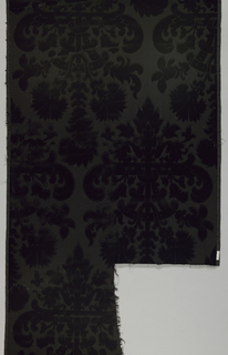 Symmetrical baroque bouquet in cut velvet on a ground of uncut velvet. Black with two ribbed selvages.