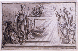 "Horizontal rectangle. The left part of a sarcophagus is shown, standing upon a platform in a cemetery. A woman leans upon it. She points with a mace at a savage woman sitting upon the steps, and she looks at ""Church"" or ""Religion"" approaching in a glory. Beside her walks an angel holding the end of the cross and a palm branch. Framing line."
