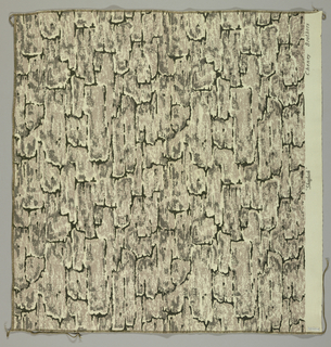 Impressionistic design of tree bark in grays and black on an undyed cotton ground.