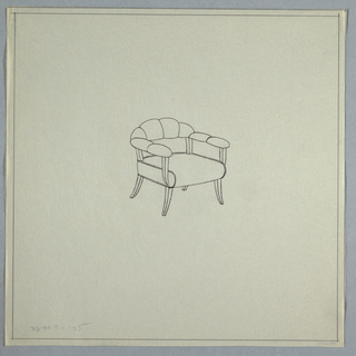 Chair with flared legs, puff horizontal back and arms.