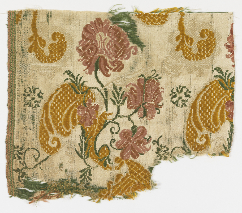 White satin ground with design of floral sprays repeated in horizontal rows. Green and white continuous supplementary wefts form part of the design, with yellow and rose brocading.