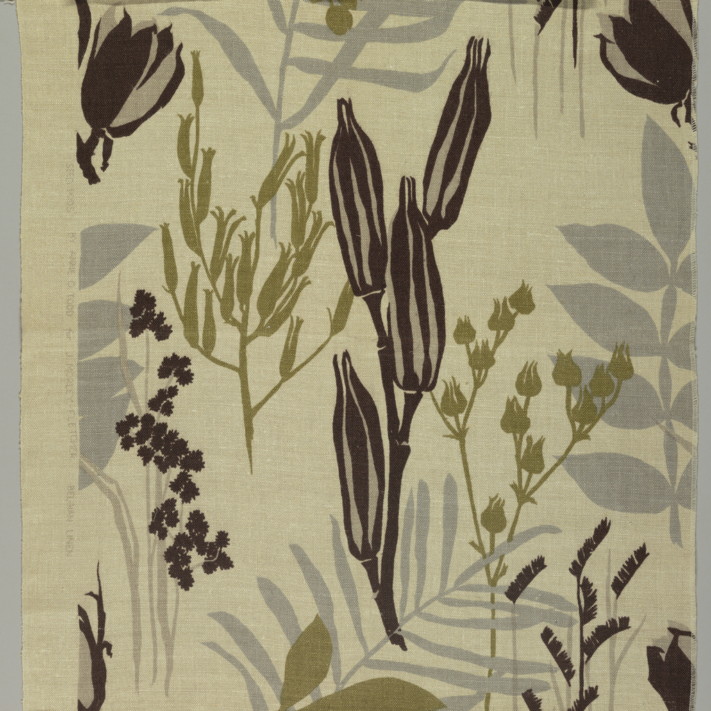 Large clusters of seed pods printed in gray, tan, dark brown, and dull yellow-green on a natural linen ground.