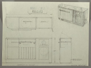 Drawing, Cabinet: Radio and Phonograph, 1930s