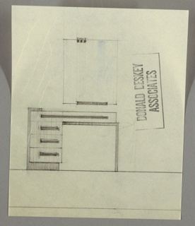 Design for dressing table and mirror, seen in front elevation. Below, dressing table consists of three drawers at left supported by bracket in darker material. Triple stack topped by wide shallow drawer that spans greater width; all accessible by horizontal, layered pulls. Left side supported by L-shaped dark material. Above, vertical, rectangular mirror affixed at upper left by three bands and below at center by long horizontal band.
