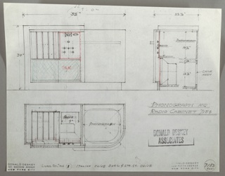 Plans and designs for a phonograph and radio cabinet.