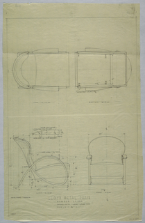 Plan and elevation of metal chair; including annotations.