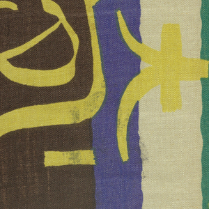Horizontal bands of dark brown and blue on undyed linen with superimposed design of Chinese characters in bright yellow and black.