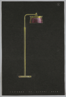Tall pole lamp with yellow stand and pink round shade.