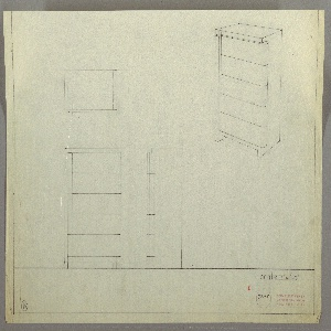 Design for chest of drawers. At upper right, object shown in perspective: primary rectilinear volume with drawers that feature extruding vertical element at left that runs object height and curved right edge that wraps rearward. Also shown in plan and front and side elevations. Inscribed with Deskey No. 7205.