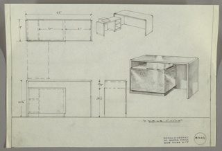 Drawing, Desk: Seating on Right Next to Enclosed Shelf Unit, 1930s