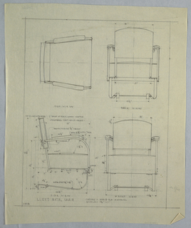 Plan and elevation of metal chair.