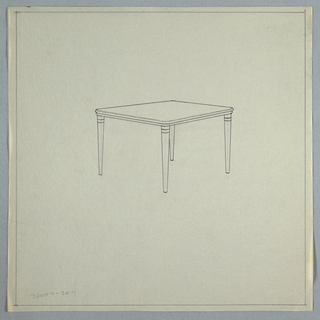 Table with flat top and tapered legs, rounded edge.